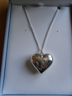 Dew Large Engraved Sterling Silver Heart Locket