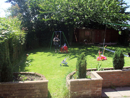 We have since had the trees chopped down in the garden so we get more light, we have also had the an extra house length of garden added to the side of the house. So lots of room.