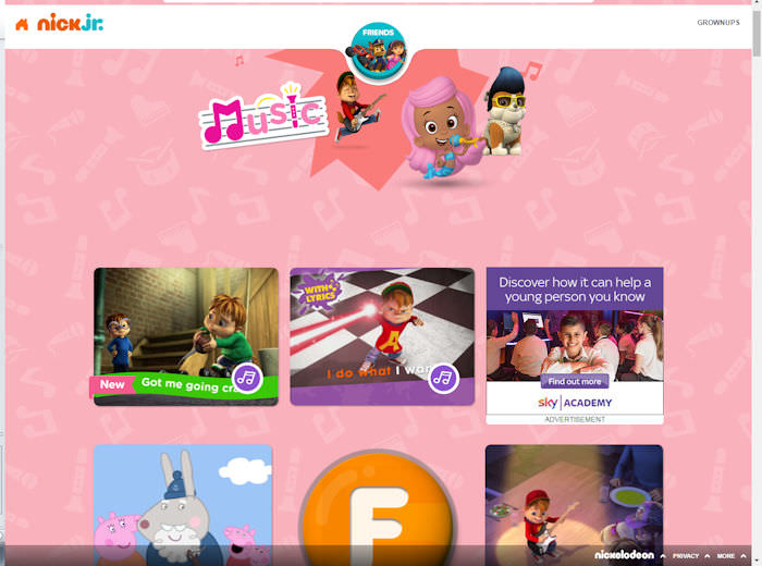 NickJr.co.uk Music Hub