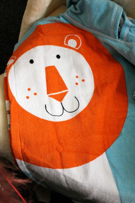 Noah's Ark Hooded Towel Poncho Lion