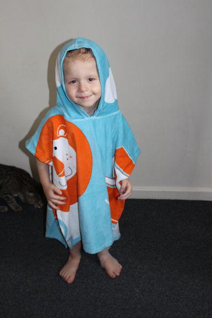 Noah's Ark Hooded Towel Poncho Zander full front of poncho