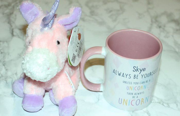 Personalised Unicorn Mug and Teddy - mug with personalised text on