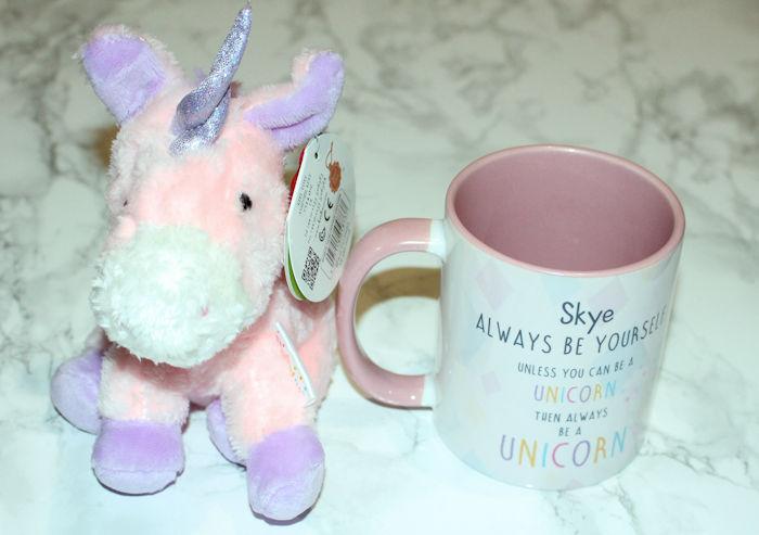 Personalised Unicorn Mug and Teddy - mug with personalised text on
