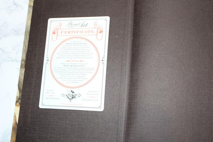 Bomo Art Certificate inside front cover Pen Heaven
