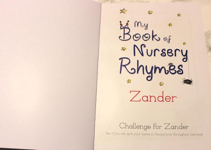 My Book of Nursery Rhymes Personalised Title Page