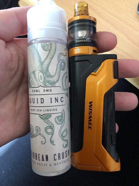 Caribbean Crush Squid Inc e-liquid with Wizmec CB80