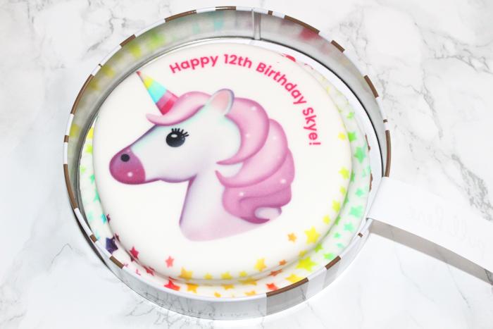 bakerdays personalised unicorn emoji letterbox cake on arrival
