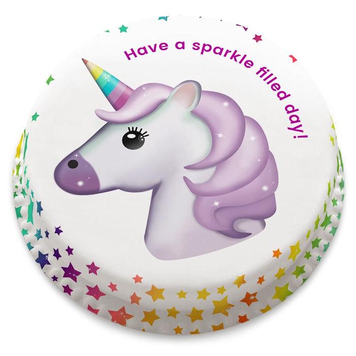 personalised unicorn emoji letterbox cake